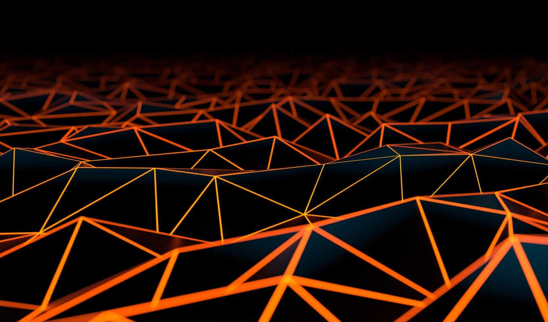 оранжевый, black, geometric, геометрия, треугольник