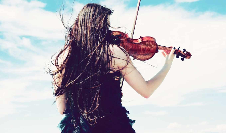 девушка, обои, скрипка, ветер, платье, небо, скрип