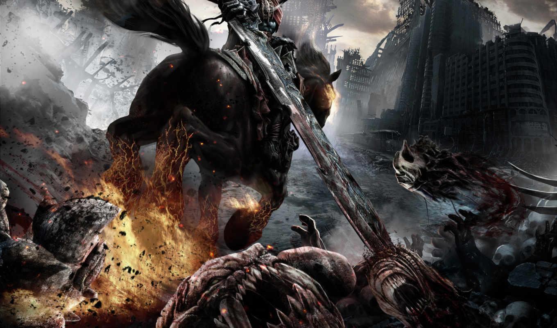 darksiders, horse, game, конь, темный, демонском, wrath, war, рыцарь, всадник,