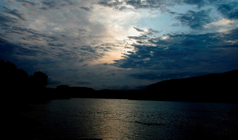 , nature, night, lake, view, field, water,