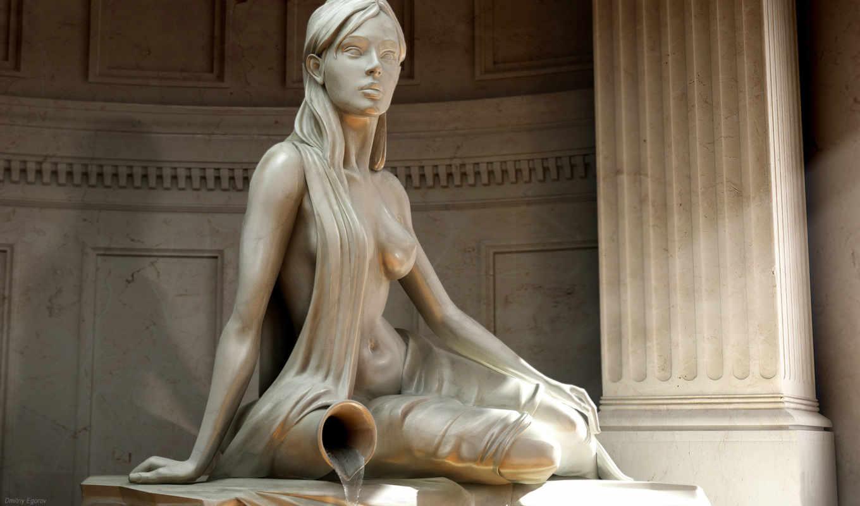 девушка, статуя, вода, кувшин, скульптура, женщина, водолей, искусство, egorov, dmitriy,