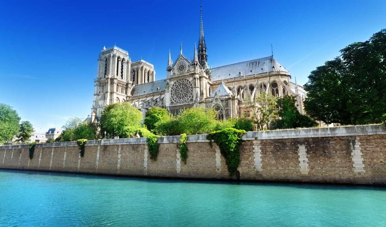 cathedral, парижской, богоматери, париж, dame, notre, франция,
