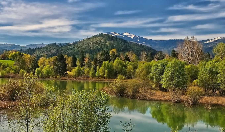 река, весна, марта, озеро, гора, idaho, design, дерево, трава, elements,