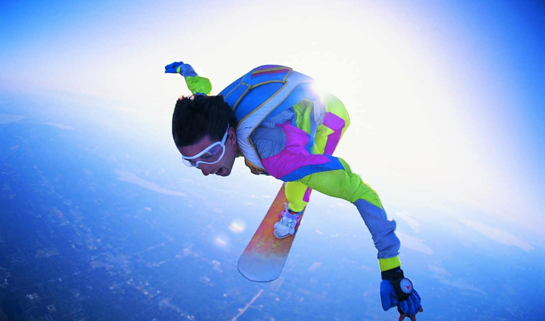 прыжок, пасть, свободное, полет, парашютный, очки, cкайсерфинг, картинка,,,,