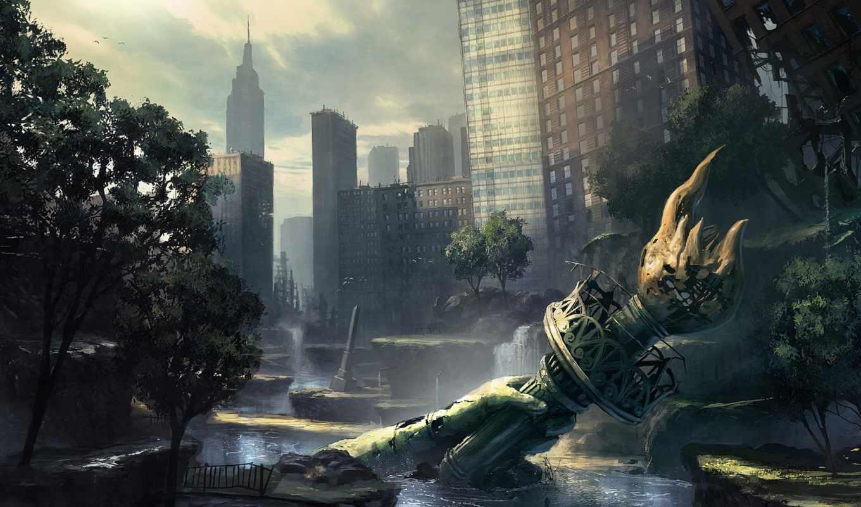 свободы, crysis, разруха, статуя, город, metro, art, статуй,