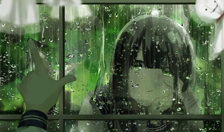 anim, девушка, арта, anime, дождь, mang, песнь, rainy, drop, art