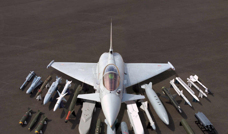 авиация, истребитель, самолёт, небо, боеголовки, eurofighter, многоцелевой,