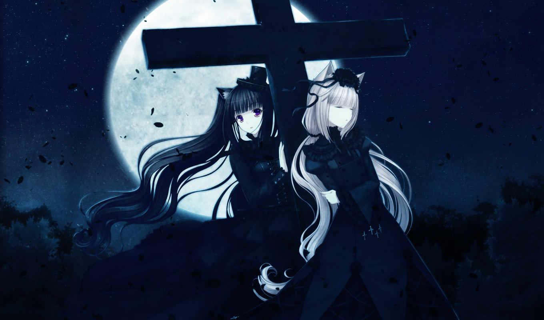 anime, girls, with, tags, animal, colors, gothic, neko, similar, dress, vanilla, lolita, chocola, ears, sayori,