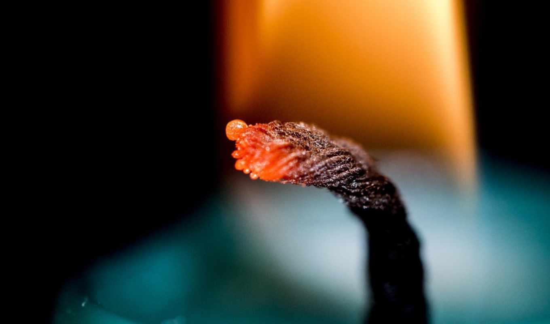 огонь, свеча, фитиль,