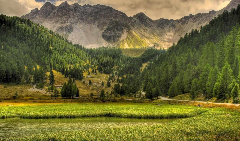 горы, природа, озеро, landscape, деревья, небо, разделе,