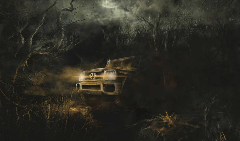darkness, art, ночь, машина, лес, картинка,