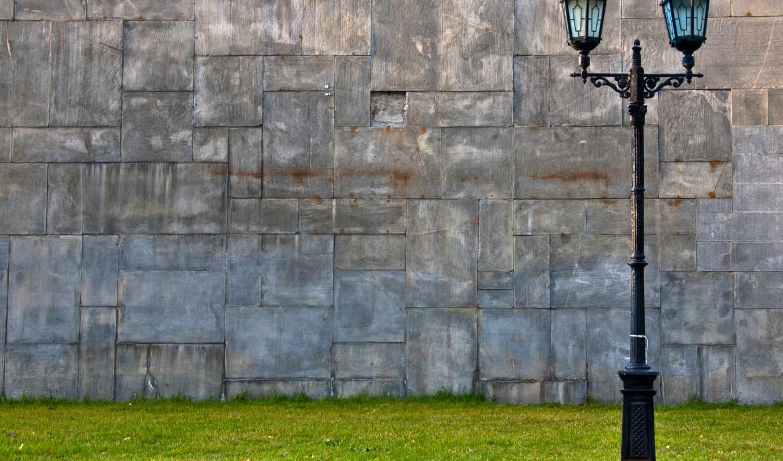 лампа, стены, дек, разных, стена, трава,