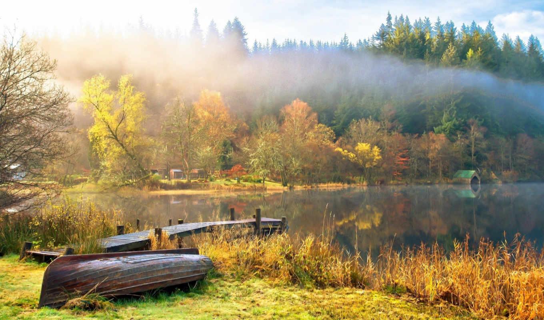 шотландия, landscape, loch, природа, небо, oblaka, gb, trees, озеро, ard,