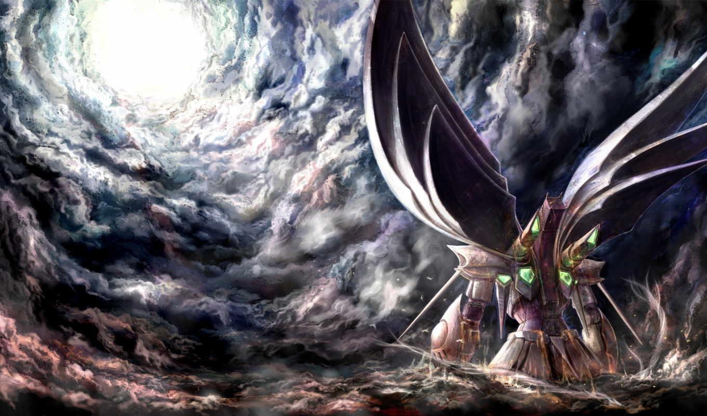 anime, robot, art, oblaka, меха, свет, небо,