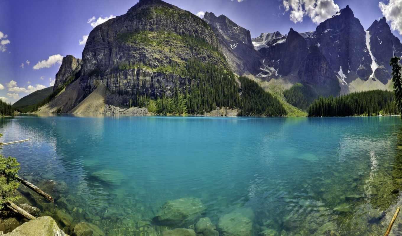 природа, lake, горы, moraine, пейзаж, вода, canada, mountains,