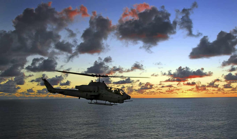 авиация, вертолет, вертолеты, ah, море, закат, картинка, солнце, cobra, ищим, приступника, photographs, кобра, helicopters,
