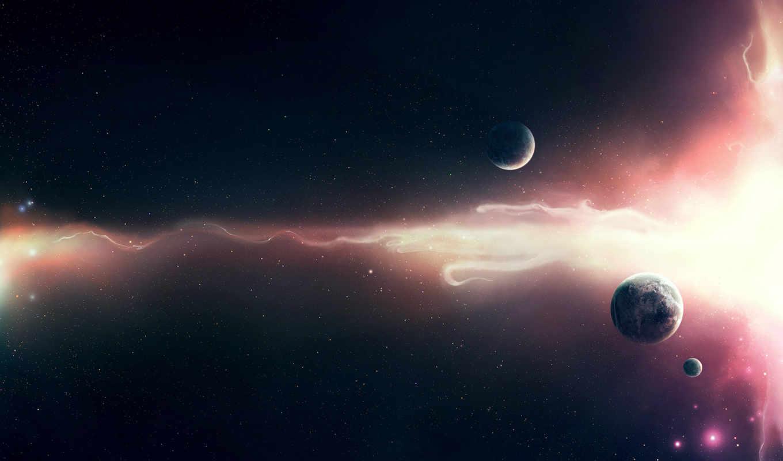 планеты, свет, волна, звезды, space,