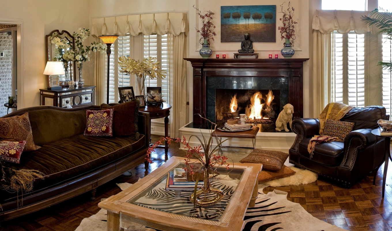 интерьера, дизайн, комната, стиль, эклектика, интерьер, камин, камином,