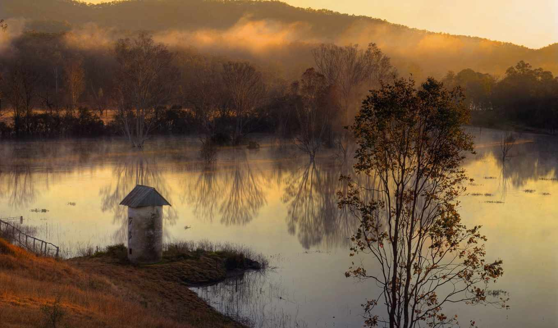 ozero, туман, osen, priroda, les, утро,