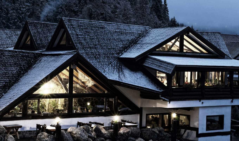 ,горы,дом,снег,окна,терасса,