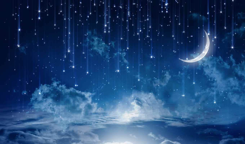 небо, звездное, свет, clouds, moonlight, ночь, луна, природа, landscape, лунно,