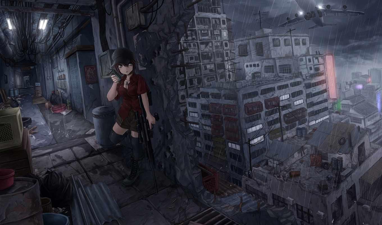снайпер, дождь, девушка, винтовка, anime, оружие, touhou, месте, быстро, water, небо,