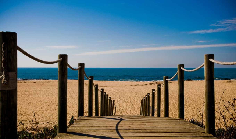 пляж, мост, towards, desktop, high, трек,