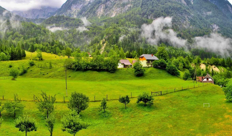 гора, природа, дерево, лес, облако, landscape, трава, slovenia, house, поляна