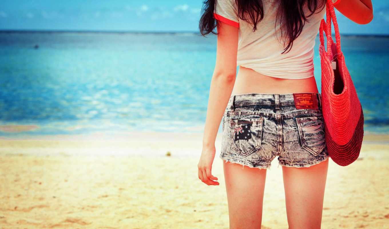 девушка, море, пляж, отдых, шорты, майка, сумка