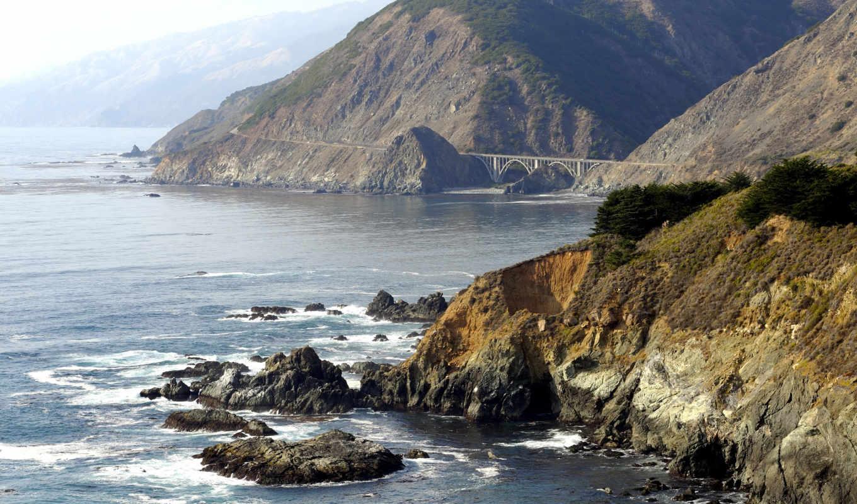 море, скалы, океан, пейзажи, вода, горы, скала, волны,