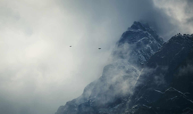 горы, гималаи, nepal, птицы, снег, облака, картинка,