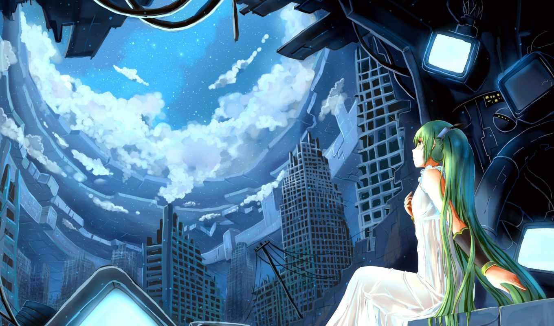 miku, hatsune, вокалоид, manga, art,
