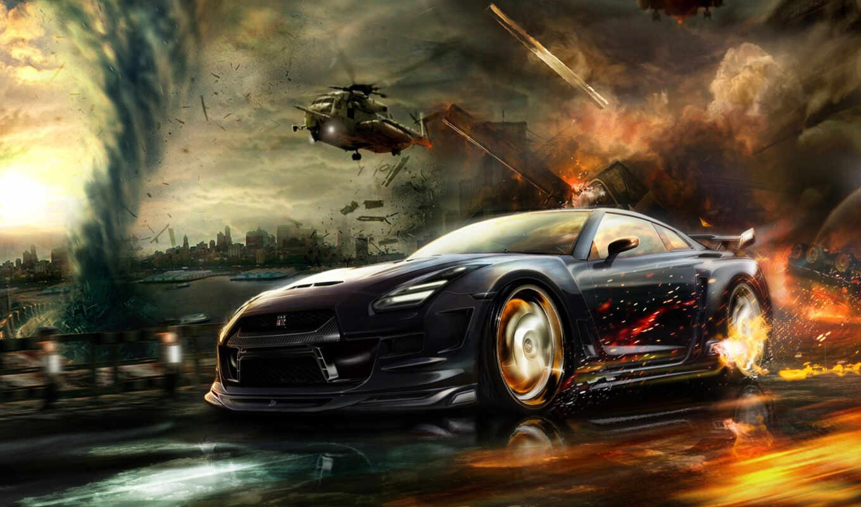 nissan, машины, красивые, авто, тюнинг, race, огонь, вертолет, pursuit,