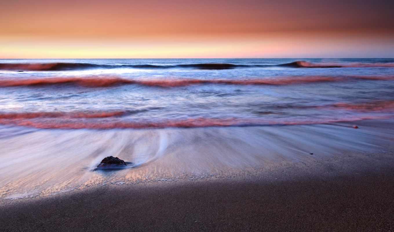 море, рассвет, waves, берег, камень, телефон, небо, природа, пальмы, ocean,