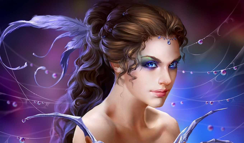 fantasy, art, girl, deepest, blue, magic, крылья,