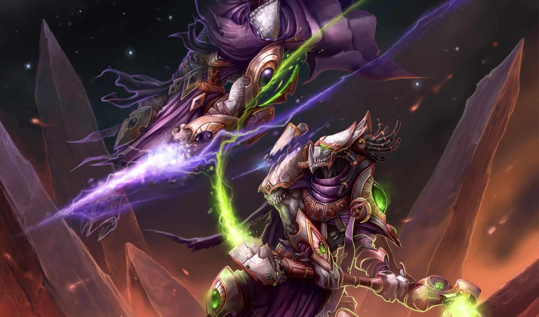 битва, starcraft, магия, картинка, rod, горы,