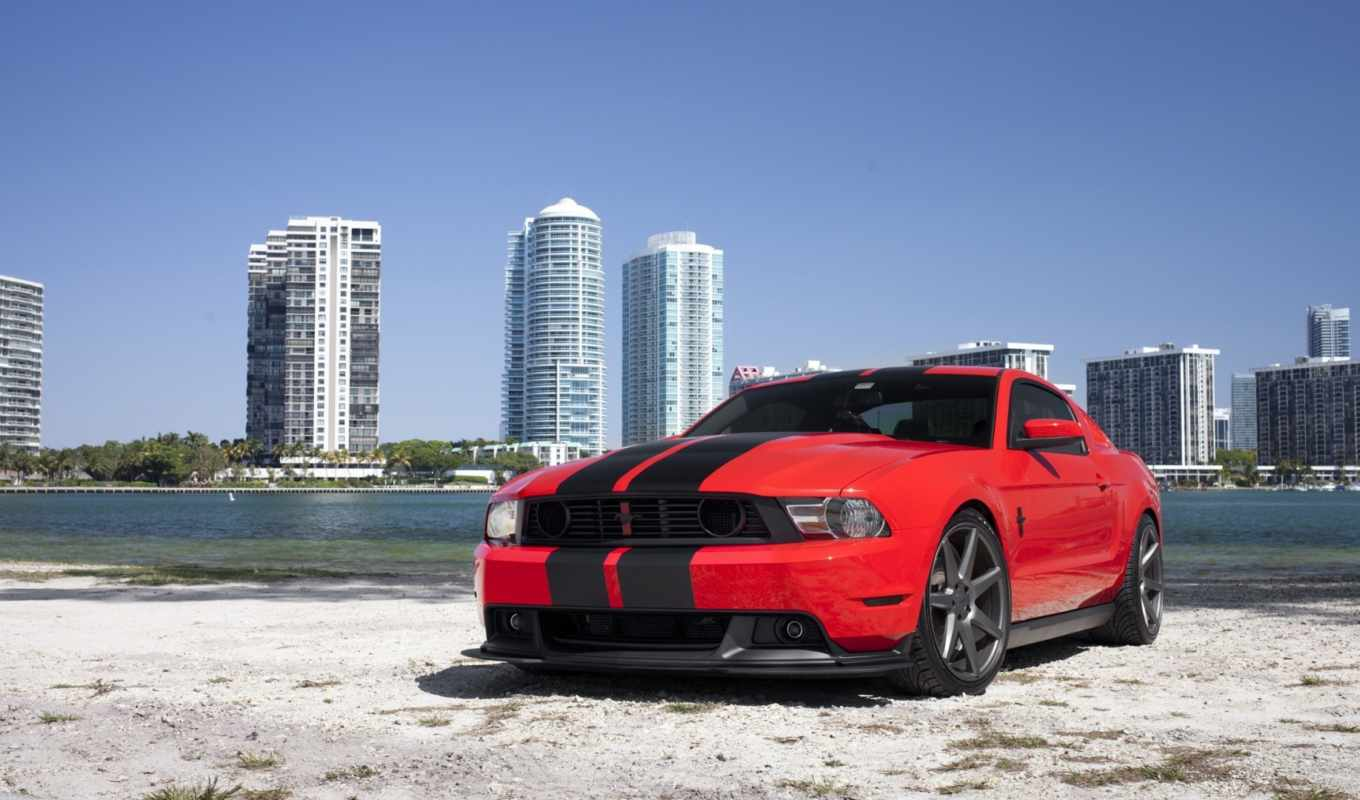 mustang, ford, red, miami, пляж,