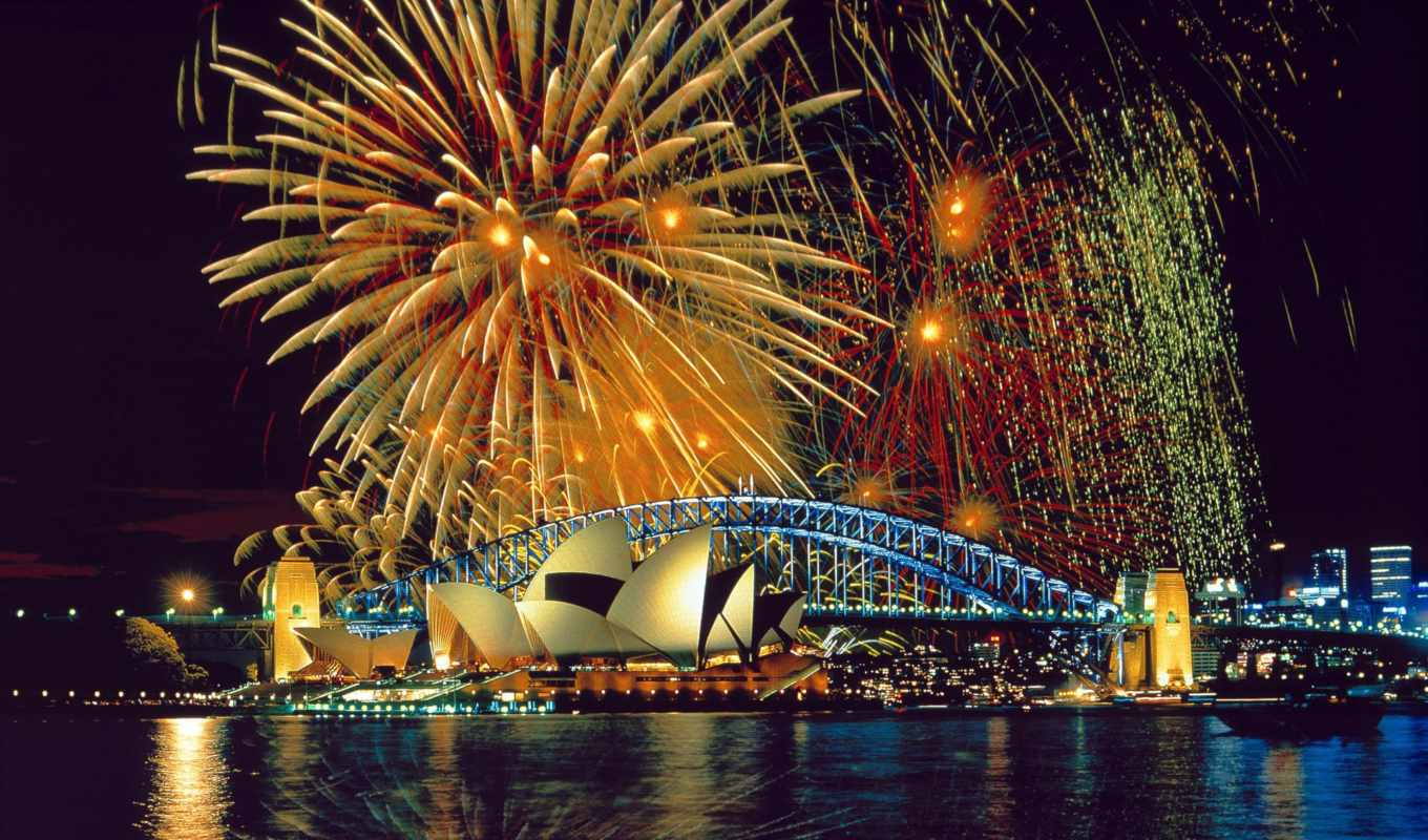 sydney, house, opera, fireworks, wallpaper, and, b