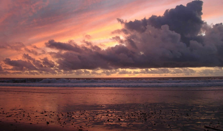пляж, закат, берег, wallpaper, солнце, небо, зеркало,