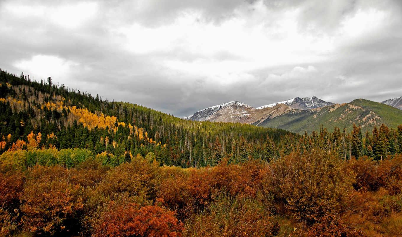 горы, лес, осень, деревья, небо, тучи, картинка, картинку, мыши, кнопкой, природа,