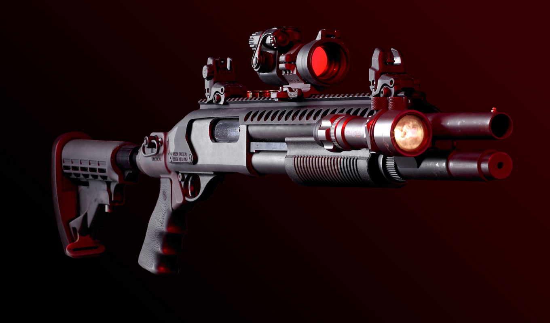 tactical, дробовик, оружие, фонарем, ружьё, прицелом, тактическим, картинку, чтобы, ружья, прицел, фонарик,