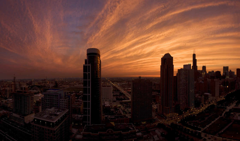 ,город, небоскребы, облака, пасмурно, дождь, дорога, машины, огни