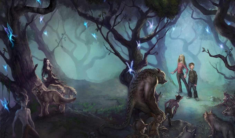 существа, сказочные, волки, выпуск, next, лесу, ними, удивленные,