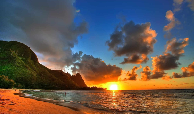 landscape, закат, пляж, берег, ocean, море, пейзажи -,