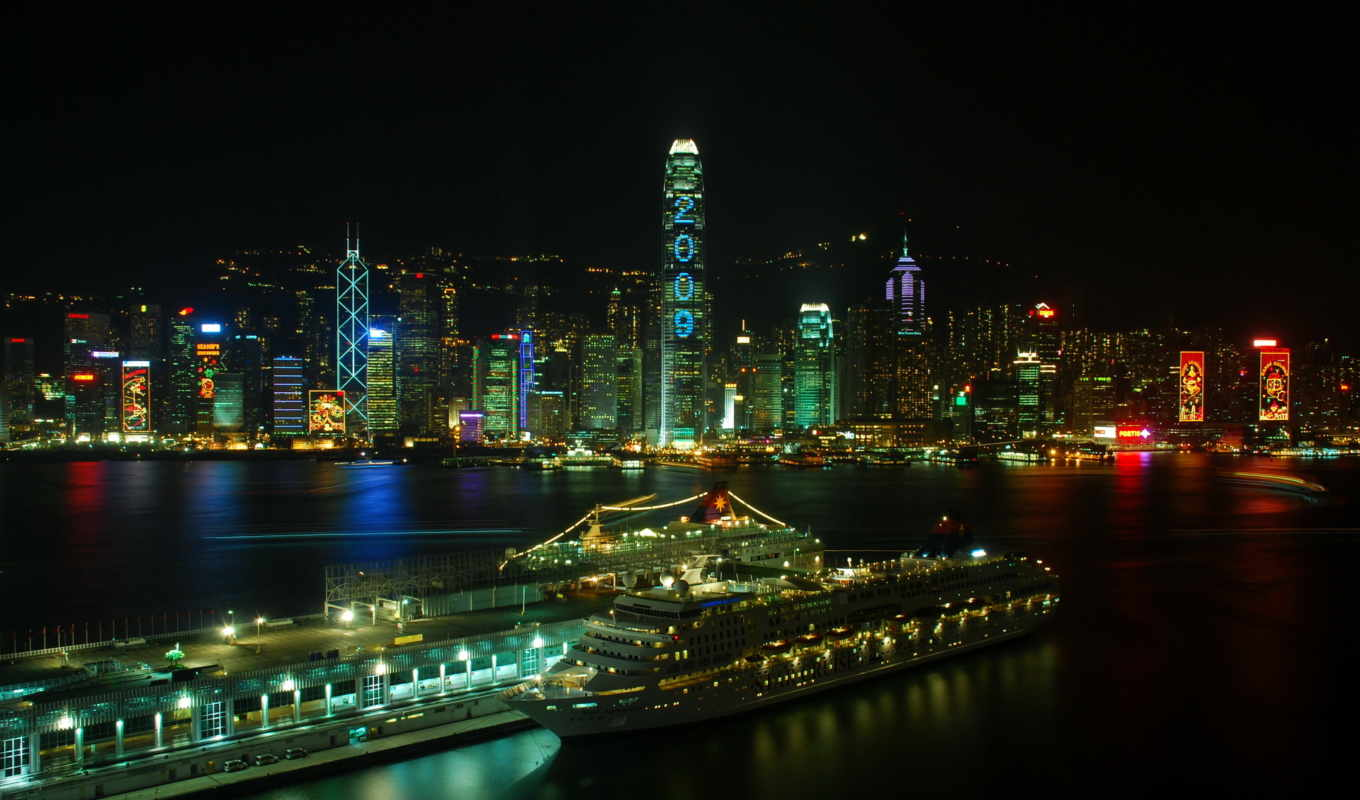 kong, hong, china, города, chine, гонконг, начные, architecture,