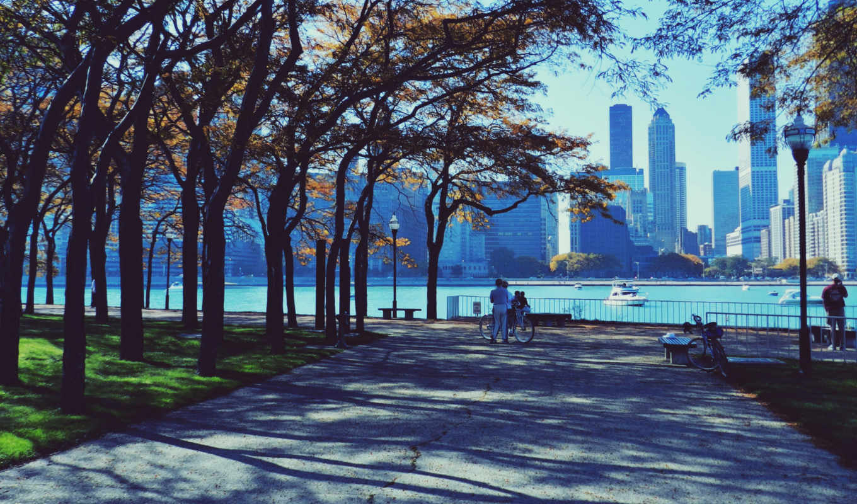 chicago, город, небоскребы, люди, улица, картинка,