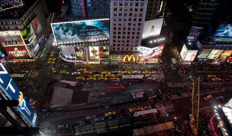 нью, york, сша, mcdonalds, реклама, new, таймс, огни, городские, трафика,