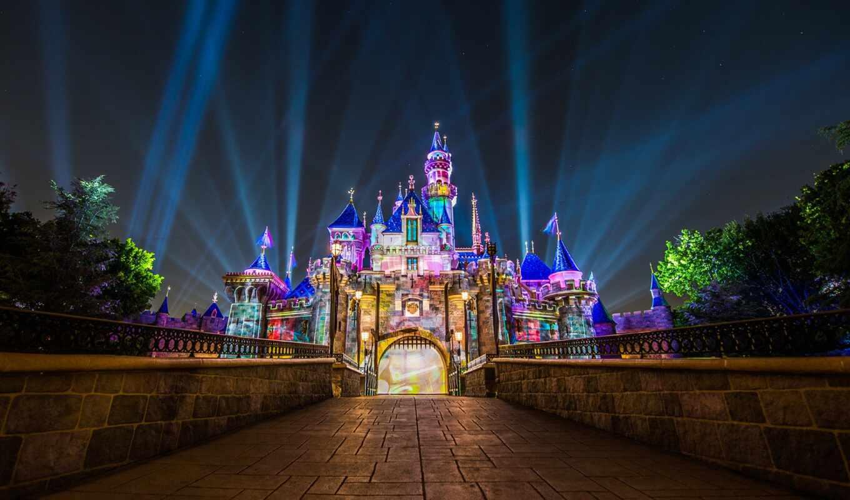 castle, disneyland, california, спать, красавица, anaheim, ray, kalifornii, ночь