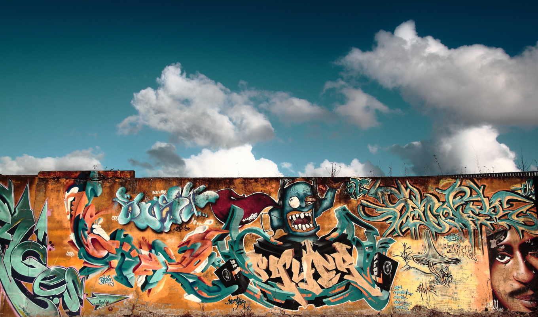 graffiti, wall, небо, рисунок, art, улица,