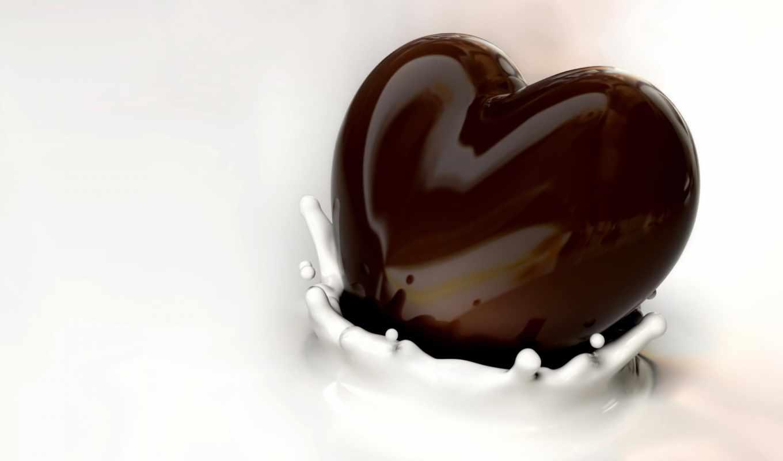chocolate, молоко, heart, всплеск, desktop,